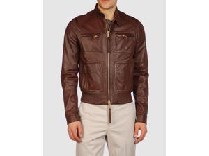 Men's Fishing Leather Jacket Brown