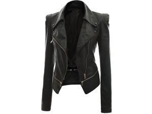 Ladies Anthracite Black Leather Jacket