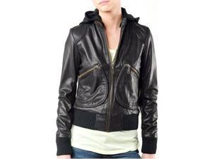 Sexy Bombers Womens Leather Jacket with Hoody