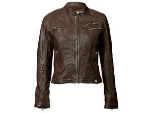 Ladies Elektra Brown Washed Leather Jacket - Vintage Style