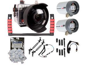 100D Rebel SL1 Canon Ikelite Housing 6970.01 w/ Dual DS-51 Ball Strobes Package