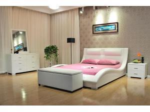 Greatime B1141 Eastern King White Wave-like Shape Upholstered Bed