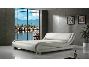 Greatime B1070 QUEEN White Comtemparay Upholstered Bed