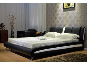 Greatime B1040 Cal King  two tone Black&White bonded leather platform bed