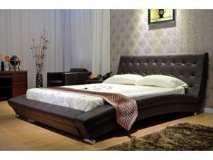 Greatime B1053-4 Cal King  Chocolate bonded leather platform bed