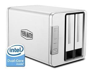 TerraMaster F2-220-Personal Cloud Storage NAS  2-Bay RAID Storage Aluminum Intel Dual Core 2.41GHz 2GB RAM Space Sharing Remote Backup Time Machine Dropbox Sync Plex media Server for SOHO (Diskless)