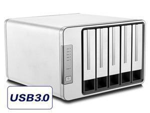 NOONTEC-TerraMaster D5-300 USB3.0 Type C 5-Bay Raid Enclosure USB3.0 (5Gbps) Support RAID 0, RAID 5 Hard Drive RAID Storage (Diskless)