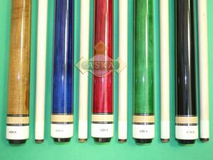"Set of 5 Brand New Aska L3 Pool Cue Sticks. Cadanian Hard Rock Maple, 58"" length, 13mm Hard Le Pro Long Lasting Tip. Black Nylon Wrap. Black, Blue, Brown, Green, Red. Mixed Weights"