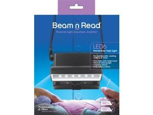 Beam n Read LED 6 Hands-Free Task Light&#59; Extra Wide & Extra Bright Light from 6 LEDs Plus 2 blue-light-blocking Relaxation Filters
