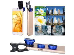 3in1 Mini Fisheye Wide Angle Macro Lens For Samsung Note 2 3 Galaxy S4 S5 DC526