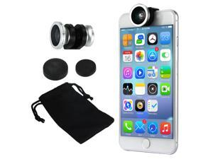 Phone Camera Lens Kit 180 Degree Fish Eye Lens + 0.67x Wide Angle lens + Micro Lens for iPhone 6 / 6plus / 6S DC675 (color:Silver)