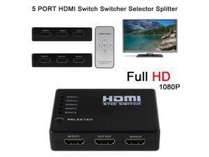 XCSOURCE® 1080P HD HUB 4X1 5To1 Fach HDMI 3D Splitter Verteiler Switcher Power HDTV AH106