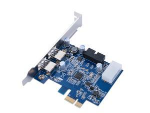 """Dual Ports PCI-E to USB 3.0 Expansion Card 19Pin + 5.25"""" Front Panel 20Pin AC391"""