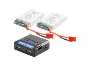 XCSOURCE 2x 3.7V 600mAh 25C Lipo Battery + 4 in 1 USB Battery Charger For Syma X5HC BC592