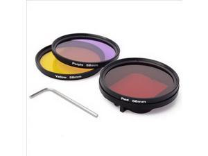 XCSOURCE 58mm Adapter+Diving Red Yellow Purple Filter +Cloth for Gopro Hero 3 LF364