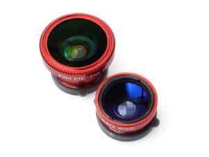 Red 180 degree Fish Eye Wide Macro Lens + Case for Samsung Galaxy S5 V i9600 DC473