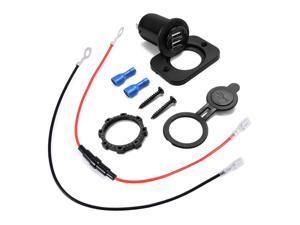 12V 2 USB Car Charger Adapter Cigarette Lighter Socket Outlet Cable Fuse MA370