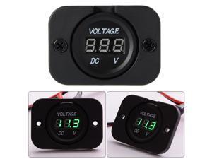 12-24V Car Motorcycle LED Digital Display DC Voltmeter Waterproof Meter MA673