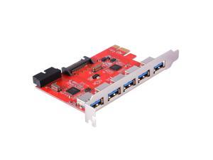 XCSOURCE Desktop PCI-E to USB 3.0 5-Port Expansion Card with 15-Pin Power Connector and Internal USB 3.0 20-Pin Connector For Windows 2000/XP/Vista/7 AC583