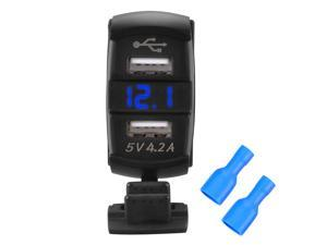 XCSOURCE Universal 2 in 1 USB Charger with Blue LED Light Voltmeter - Dual USB Ports Power Socket for Switch Panel BI310