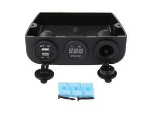 XCSOURCE®  Dual USB Charger with Blue LED + Cigarette Lighter + Voltmeter Kit Adapter for Universal Car Motor 12/24V MA386
