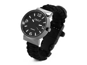 XCSOURCE®  Paracord Outdoor Watch With Survival Compass Whistle Fire Starter Watchband Bracelet Emergency Tool For Men & Women Black OS564