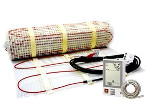 "In Floor Heating Kit for 145 Sq Ft - Includes 240 Volt Heatwave Mat - 20"" x 88.4' - Programmable Thermostat with Floor Temperature Sensor"