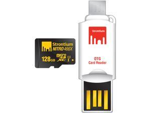 Strontium Nitro 466X 128GB MicroSDXC UHS-1 Memory Card with OTG Card Reader