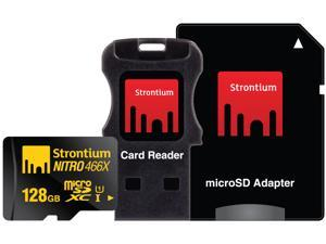 Strontium Nitro 466X 128GB MicroSDXC UHS-1 Memory Card with Adapter and Card Reader