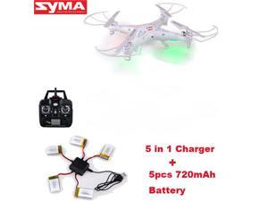 Syma X5C-1 2.4Ghz 6-Axis Gyro RC Quadcopter Drone UAV RTF UFO with 2MP HD Camera With Extra 5 Pieces 720Mah Batteries and 1 Piece 5-In-1 Charger