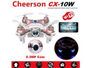 Cheerson CX-10W Mini Wifi FPV 0.3MP Cam LED 3D Flip 2.4G 4CH 6 Axis RC Drone Quadcopter Helicopter Airplane Toys ( Rose Gold )