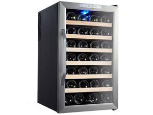 Kalamera KR-28ASS 28 Bottle Stainless Steel Freestanding Wine Cooler Refrigerator Chiller