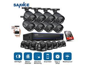 Sannce Security Camera System with 16-channel 1080N DVR combine and 8*800TVL Bullet cameras & 8*800TVL Dome ...