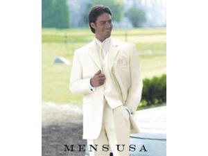 Cream/Ivory/OFF White 3 piece 2 Button Men Vested Light Weight Fine Soft Wedding Suit
