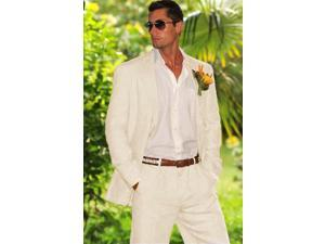 Men's 2 button style with pleated pants Suit in OFF White~Ivory~Cream Perfect for wedding