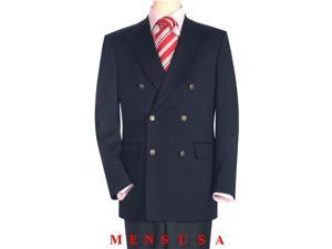 High Quality Navy Blue wool Double Breasted Blazer With Peak Lapels, Buttonhole