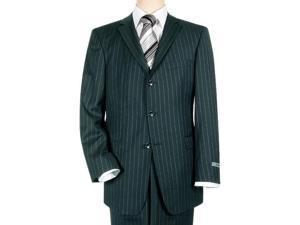 Navy Blue Pinstripe 3 Button Super 140's Wool Men's Suit