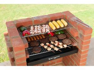 Black Knight Barbecue Grill BBQ Kit With Stainless Steel Cooking Grid,  Warming Grid and Cover
