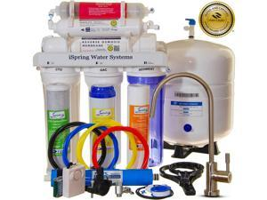 iSpring RCC7AK - Built in USA, WQA Certified Reverse Osmosis System, 6 Stages 75GPD Under Sink RO Water Filter w/ Alkaline stage, Clear Housing, Designer Faucet