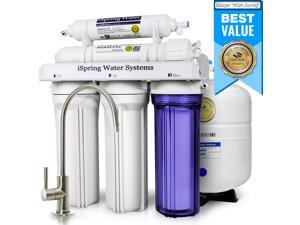 iSpring Reverse Osmosis Drinking Water Filter System - 75 GPD WQA Gold Seal Certified 5-stage RCC7