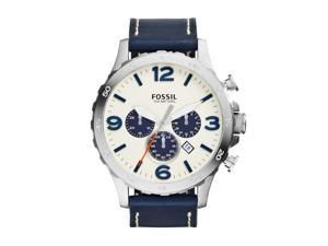 Fossil Nate Chronograph Beige Dial Navy Blue Leather Men's Watch
