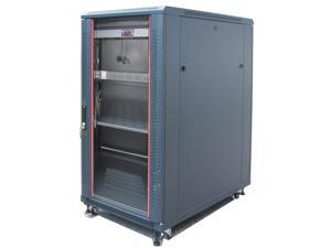 "27U Free Standing Server Rack. Fits Most of Servers, ACCESSORIES FREE!! Thermo Control System, 4 Fan Cooling Panel, Shelf, 6-Way PDU , Fully Lockable 39""Deep Network IT Server Rack Enclosure"
