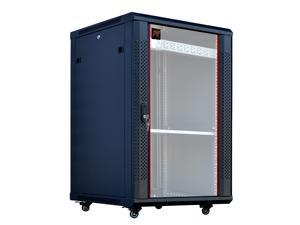 "18U Server Rack Cabinet Enclosure. Fully Equipped. ACCESSORIES FREE! Vented Shelf, Cooling Fan, 8-Way PDU, Hardware, Casters. Wall Mount 24"" Deep Closed Lockable Server Network IT 19"" Enclosure"