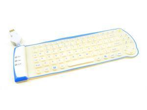 LK-1806 85-Key Mini Flexible Waterproof roll-up USB Portable Keyboard (White and Blue)