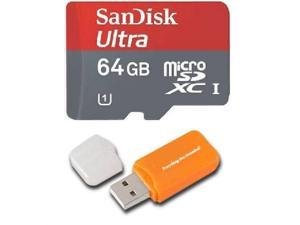 Sandisk Micro SDXC Ultra MicroSD TF Flash Memory Card 64GB 64G Class 10 for Samsung GALAXY S5 with Everything But Stromboli Memory Card Reader