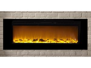 The Sideline60™ Touchstone's 60 inch Recessed Electric Fireplace with Heat in Black