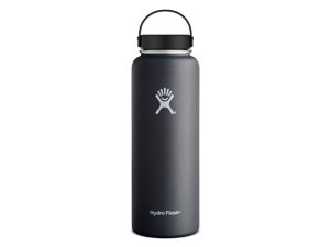 Hydro Flask 40 oz Vacuum Insulated Stainless Steel Water Bottle, Wide Mouth w/Flex Cap, Black