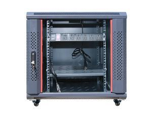 "12U Free Standing Server Rack Cabinet. Fits Most of Servers, ACCESSORIES FREE!! Cooling Fan, Shelf, LED-Light Bar, 6-Way PDU, Fully Lockable 35"" Deep Network IT Server Enclosure"