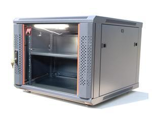 "9U Server Rack Cabinet Enclosure. Fully Equipped. ACCESSORIES FREE! Vented Shelf, Cooling Fan, LED - Light,  Hardware, Feet, . Wall Mount 24"" Deep 4 Sides Lockable Server Network IT 19"" Enclosure Box."