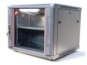 "12U Server Rack Cabinet Enclosure. Fully Equipped. ACCESSORIES FREE! Vented Shelf, Cooling Fan, LED-Lighting , Hardware, Feet. Wall Mount 24"" Deep Closed Lockable Server Network IT 19"" Enclosure Box"